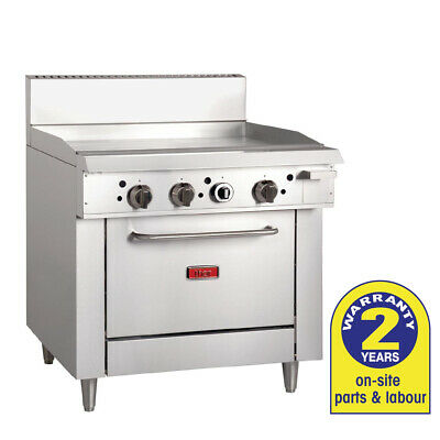 Gas Oven with 900mm Griddle LPG Grill Smooth BBQ / Hotplate Thor Commercial