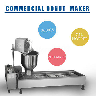 220V Commercial Automatic Donut Maker Making Machine Wide Oil Tank w/ 3 Set Mold