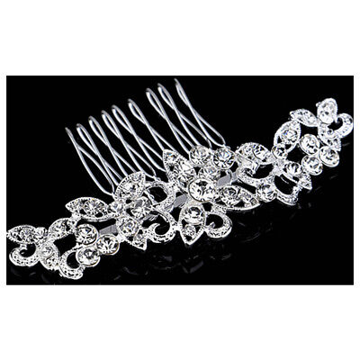 Wedding Bridal Hair Comb Clip Crystal Rhinestone Diamante Flower Silver E1C5
