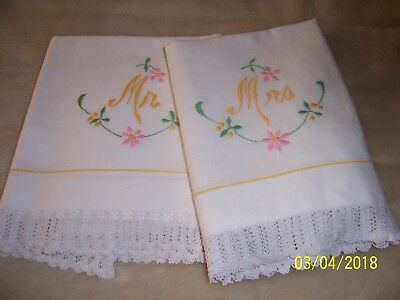 vintage pair of Mr & Mrs white embroidered pillow cases with crochet