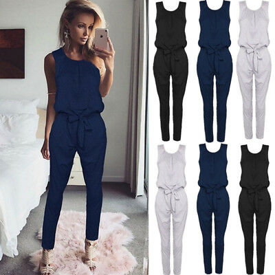 Womens Summer Playsuit Slim Evening Party Ladies Romper Long Jumpsuit Size 6 -16