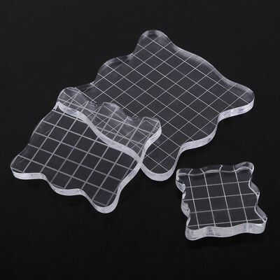Portable Clear Acrylic Stamp Blocks Grid Scrapbooking Pad Crafts Making Tools