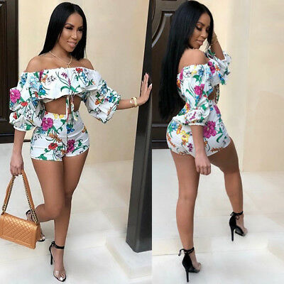 Sexy Women Off Shoulder Floral Bodycon Clubwear Party Summer Dress Set 2pcs