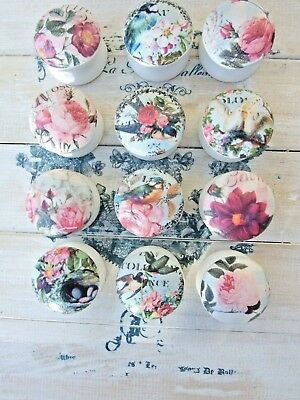 Birds And Flowers 'Shabby Chic' Style Decoupage Knobs For Cupboards/ Drawers