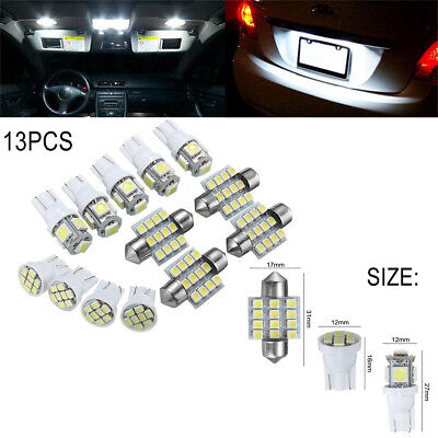 13Pcs Car White LED Lights Kit for Stock Interior & Dome & License Plate Lamps F