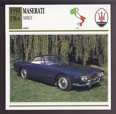 1959-1964 Maserati 5000 GT Touring Car Photo Spec Sheet CARD 1960 1961 1962 1963