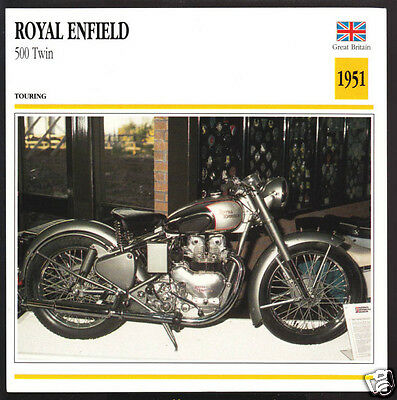 1951 Royal Enfield 500cc Twin (495cc) ISDT Motorcycle Photo Spec Sheet Info Card