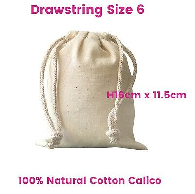 Calico Bag Drawstring Small Calico Bags Natural S6 H16 x W11.5cm 1-200 lots