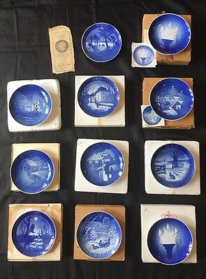 Bing & Grondahl B&G 11 plate collection 1970-1977 incl. 1972, 1976 Olympics