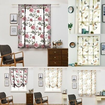 Embroidery Roman Curtains Tie Up Shade Window Sheer Voile Valance Blinds