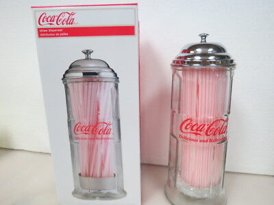Coca Cola Straw Dispenser Glass Holder Jar Vintage Coke Bottle Soda A860K