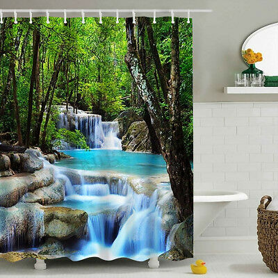 3D Waterfall Bathroom Shower Curtain Polyester Fabric 180*200cm with 12 Hooks