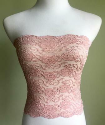 Ally Rose Pink Lace Bandeau Size L Lingerie Long Strapless Camisole Stretch