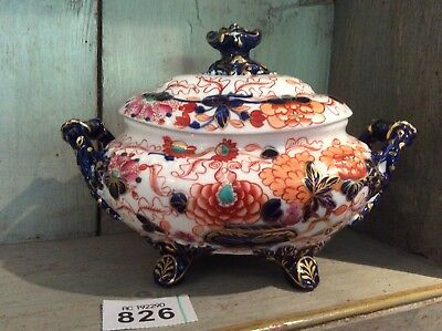 Gaudy Welsh Antique English Pottery Sauce Boat With Lid Four Legs VGC