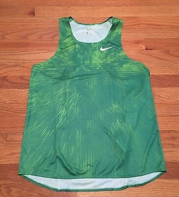 ecf4a524bde1 New Nike Men s Large Digital Race Day Elite Running Singlet Track Green  835880