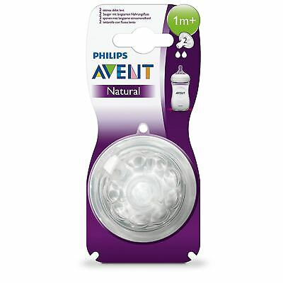 Avent Natural Slow Flow Easy Latch On Anti-Colic 2 Hole Baby Bottle Teat 1+ Mnth