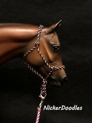 Model horse rope halter and lead rope-Traditional(1:9) size-Pink Zebra