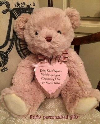 *personalised Bear With Plaque* Birthdays /christening/new Born Keepsake Gift