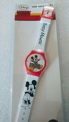100% Authentic Disney Mickey  Mouse Digital Watch White Boys  Childs Lcd