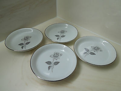 """Set of 4 Queens Royal Platinum Rose Butter Pad Plates Fine China Japan 3 3/4"""""""