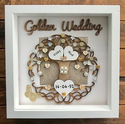 Personalised Handmade Golden 50th Wedding Anniversary Tree Frame