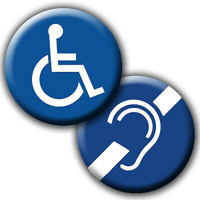 DEAF, LIP-READING, DISABLED WHEELCHAIR BADGES - 25mm, 38mm 58mm or 77mm