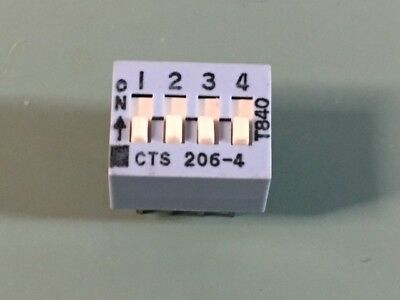 NEW LOT OF (45) CTS 206-4 Dip Switch SPST 4 Position Through Hole Slide