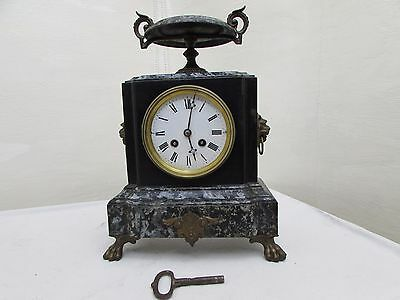 Victorian Rare Japy Freres Cast Metal Simulated Marble Mantel Clock Needs Repair