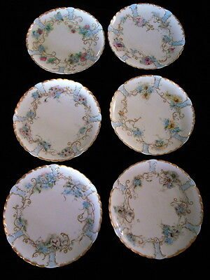 "6 Antique Haviland Hand Painted DIFFERENT Floral Assorted 7.5"" Plates Gold Rim"