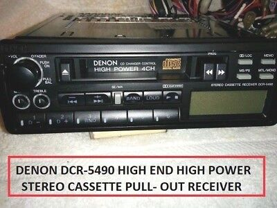 Denon Dcr-5490 Dolby High Power 4 Channel Stereo Cassette Pull Out Car Radio