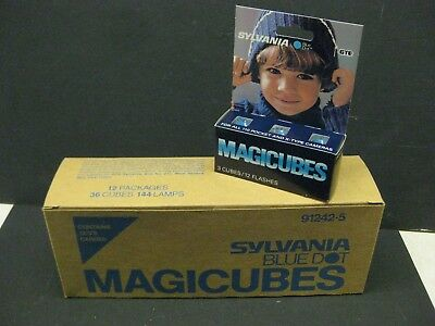 Sylvania Blue Dot Magicubes camera Flashbulbs 12 packages 36 cubes new old stock