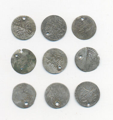 Turkey Ottoman Empire set of 9 middle ages akches dated 16-18 century