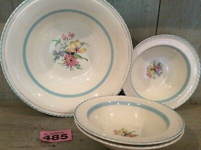 1 Large & 3 Small 1925+ CROWN DUCAL BLUE RIMMED DESERT BOWLS WITH FLORAL PATTERN