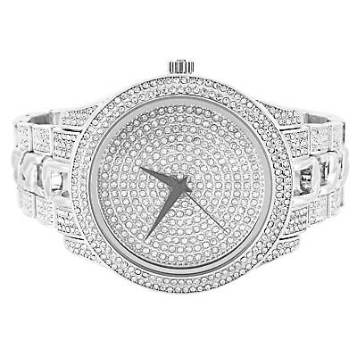 Mens Silver Tone Wrist Watch Illusion Dial Simulated Diamond Accents Cuban Link