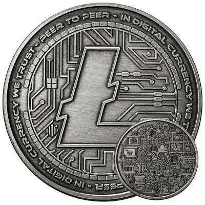 Litecoin Crypto Icon Antique Coin 1 Oz .999 Silver Bitcoin Anonymous Mint #coa
