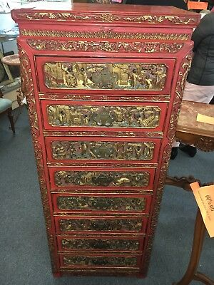 Extraordinary Chinese Carved Panel Red Lacquer Dresser