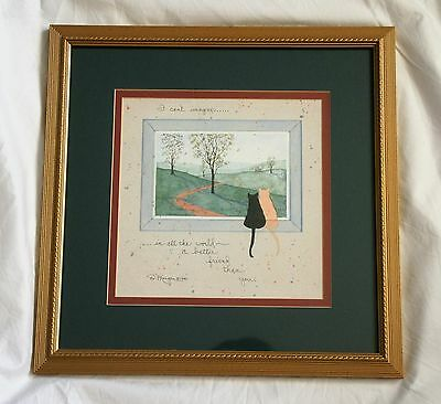 Framed Cat Art Print Friendship Quote D Morgan 1990