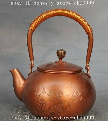 "7""chinese china pure Red copper Carved Plum flower Poetry Portable teapot Kettle"