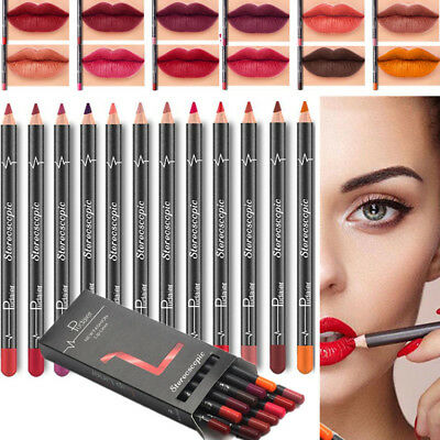 12PCS/Set Waterproof Pencil Lipstick Pen Lip Liner Long Lasting Matte Makeup