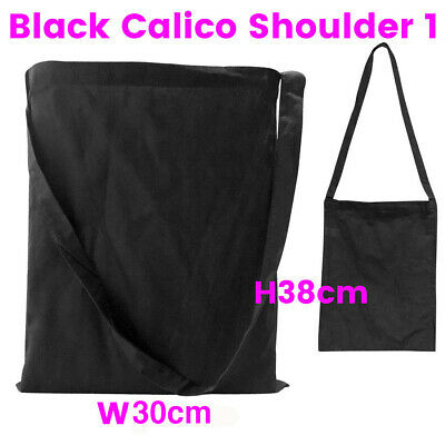 Black Shoulder Calico Bag Bulk Library Calico Bags S1 H38 x W31cm Bag Lots 1-200