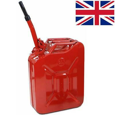 Jerry Fuel Can 20 Litre Army Red Metal Diesel Gasoline Petrol Oil + Spout