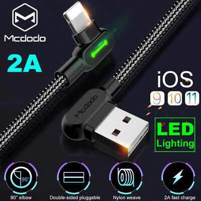MCDODO 90 Degree Elbow LED Lightning Charging Cable For Apple iPhone X 8 7 Plus