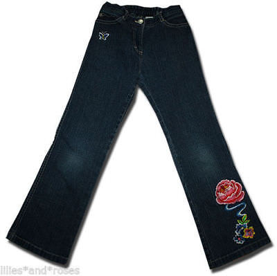 Classic FRED BARE Size 7 PEONY ROSE & BUTTERFLY Stretch Denim Jeans
