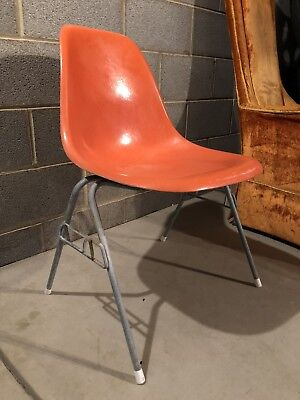 Vintage Eames Herman Miller RO Red Orange Fiberglass Shell Chair Original OG