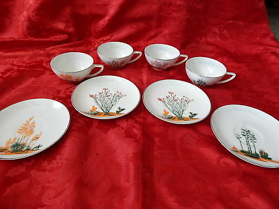 VTG Set of 4 Arizona Blakely Oil Tea Cups w/ Matching Saucers