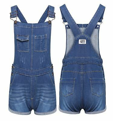New Girls Short Dress Dungaree Inna Pinafore Jumpsuit Play Suit Celeb Stylish UK
