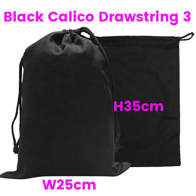 Black Calico Drawstring Bag Bulk Tote Black  Calico Bags S3 H35 x W25cm