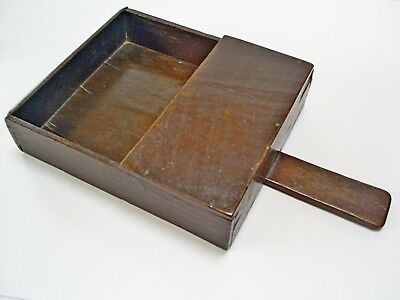 C19Th Lovely Old Antique Oak/treen Handmade Offertory Collection Box/tray