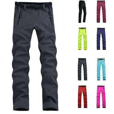 Lady Thick Warm Fleece Softshell Pants Fishing Windproof Hiking Skiing Trousers