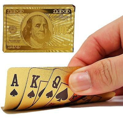 Classic Waterproof 24K Gold Foil Plated Cover Poker 54 Playing Cards Table Games